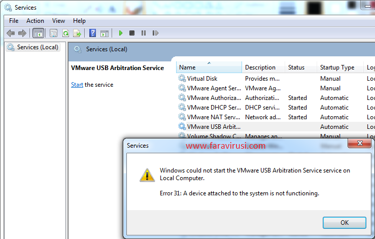Windows could not start the VMware USB Arbitration Service