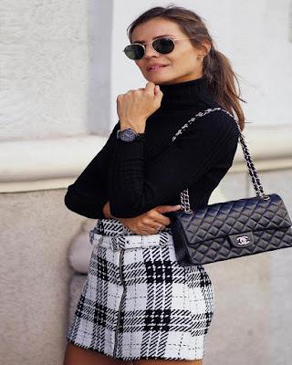 outfit de otoño con minifalda bordado