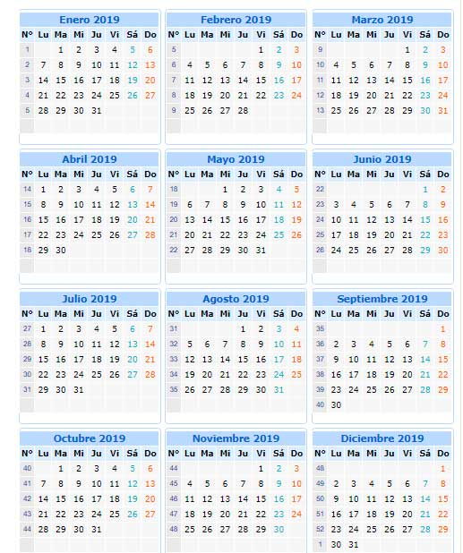 calendario 2019 de Perú para imprimir en Word, Excel y PDF
