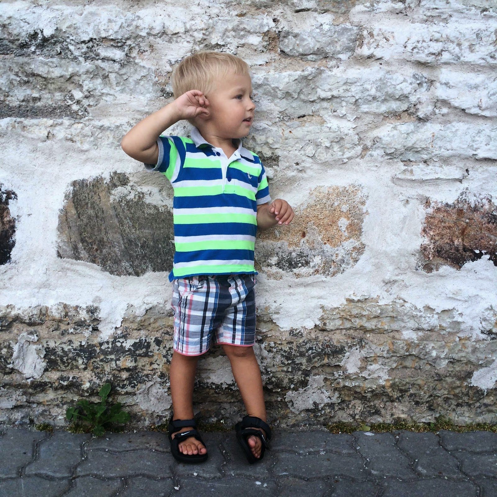 toddler style striped polo shirt square shorts