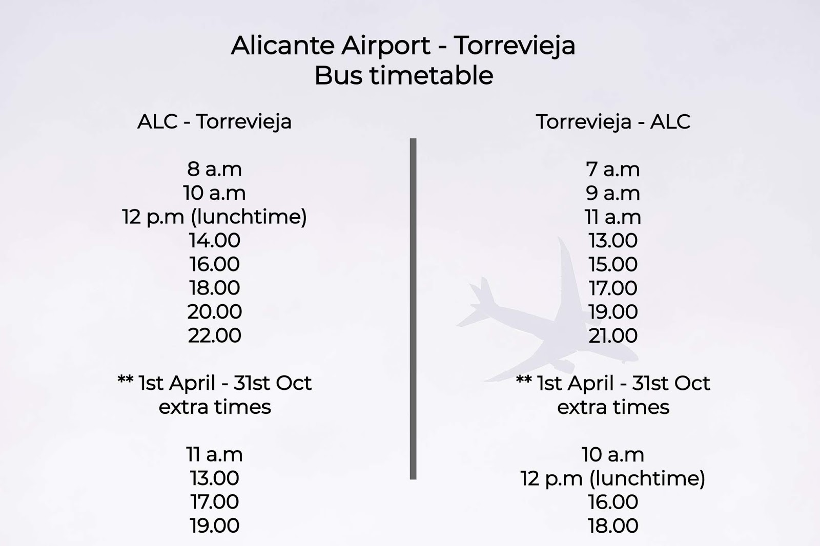 Alicante Airport → Torrevieja Bus Timetable / Suncream and Sparkles