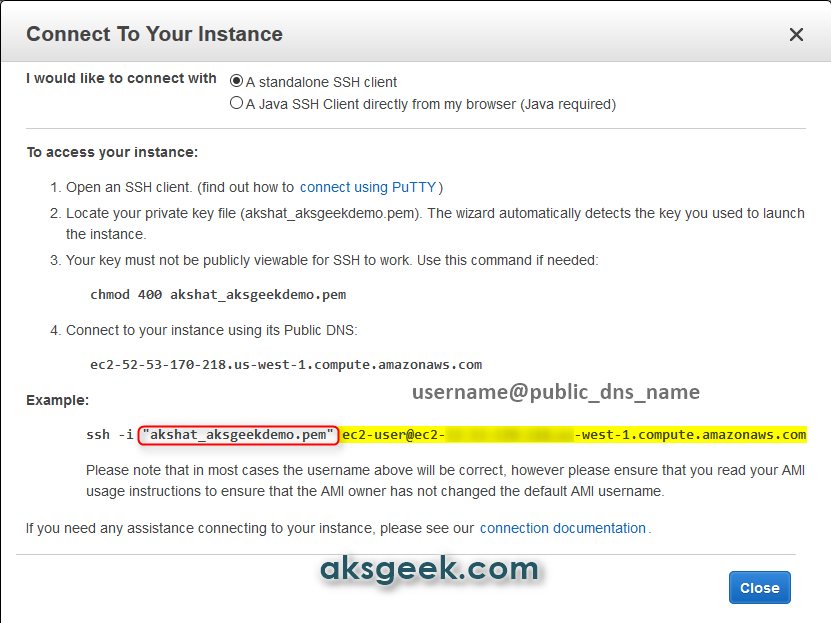 How to Connect to EC2 Instance using PuTTY and Terminal | AKSGEEK