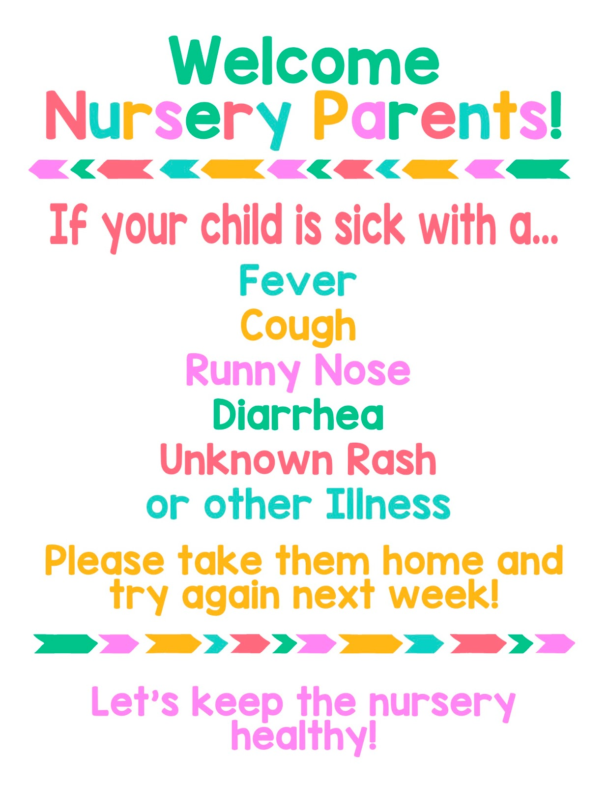 Simple Sisters Illness Sign For Lds Nursery