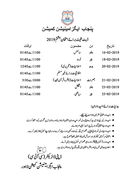 8th Class Date Sheet Annual Exams 2019 Results | Jobs Updates Past