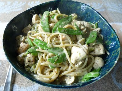 Pasta with Chicken Mushrooms and Snow Peas