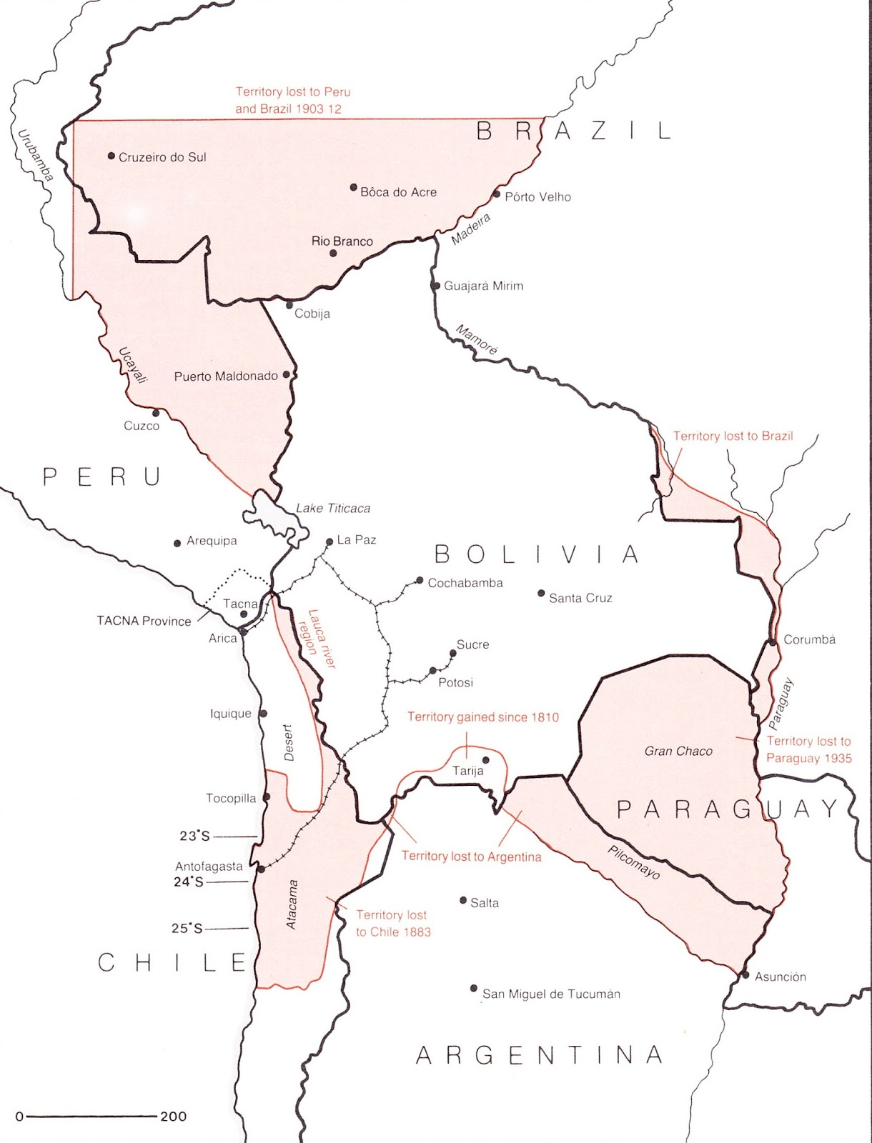 Territorial changes to Bolivia since independence (1825)