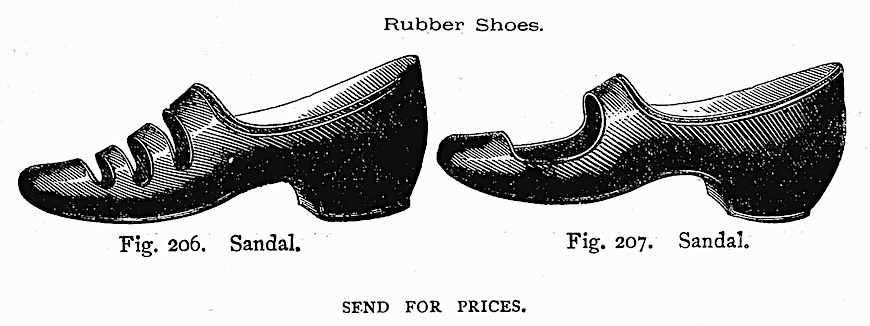1883 women's rubber beach shoes, an illustration
