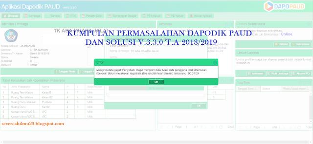 Kumpulan Permasalahan dan Solusi Dapodik PAUD v Kumpulan Permasalahan dan Solusi Dapodik PAUD v.3.3.0 T.A 2018/2019