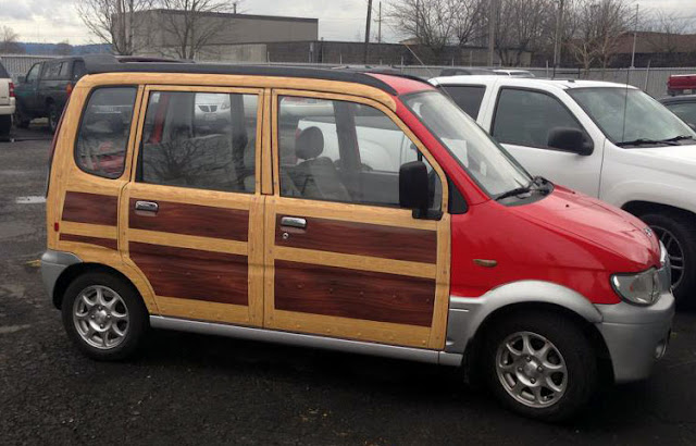 Kei car with wood grain sides