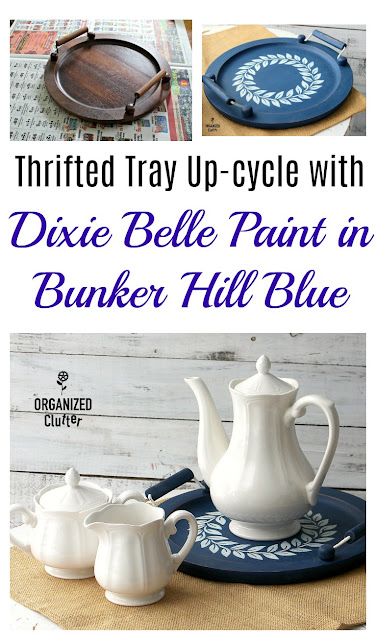 Upcycle A Thrift Shop Tray With Paint and Stencils #dixiebellepaint #Bunkerhillblue #bestdangwax #upcycle #stencil #hobbylobby