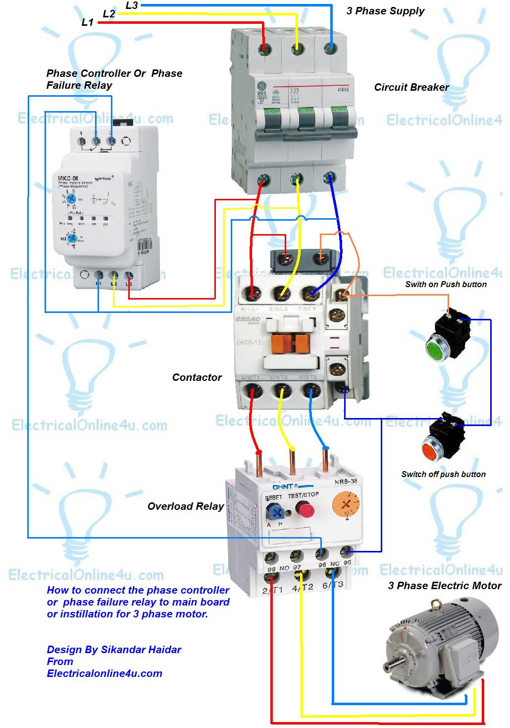 Single Phase Reversing Contactor Wiring Diagram Energy Meter 3 Motor Starter Relay Get Free