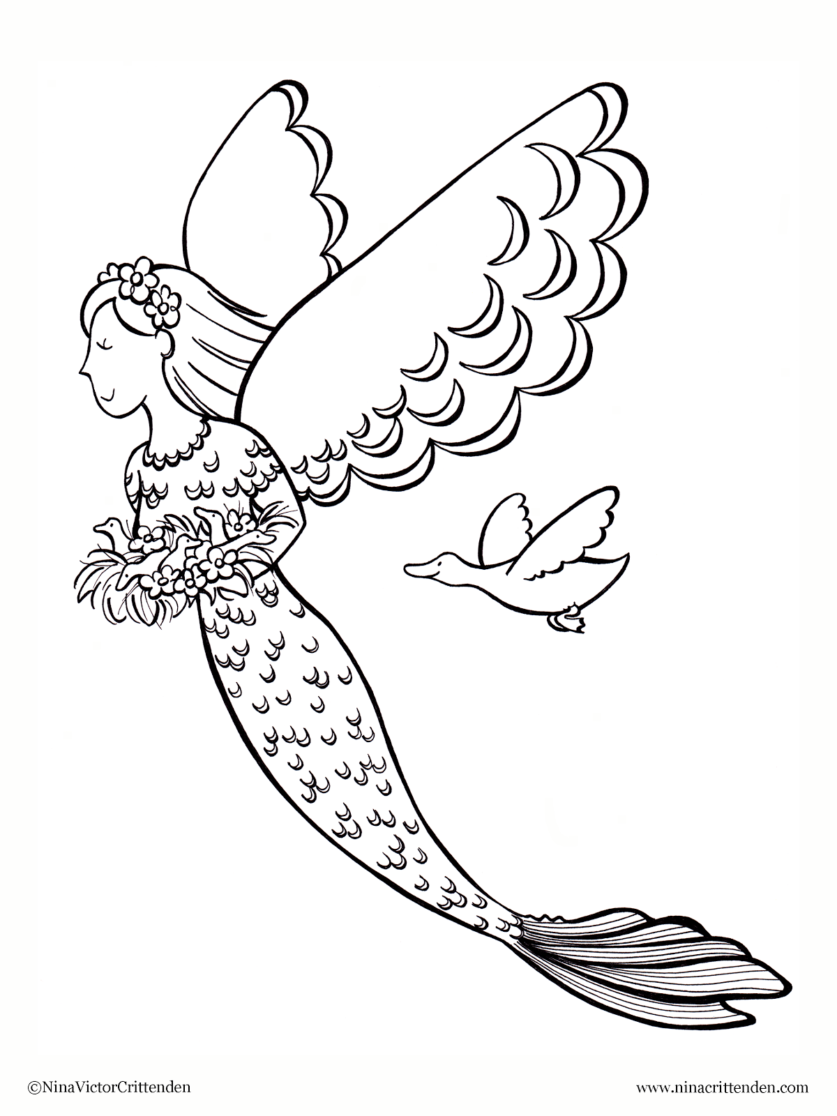 Free Printable Mermaid Coloring Pages For Kids | 1600x1200