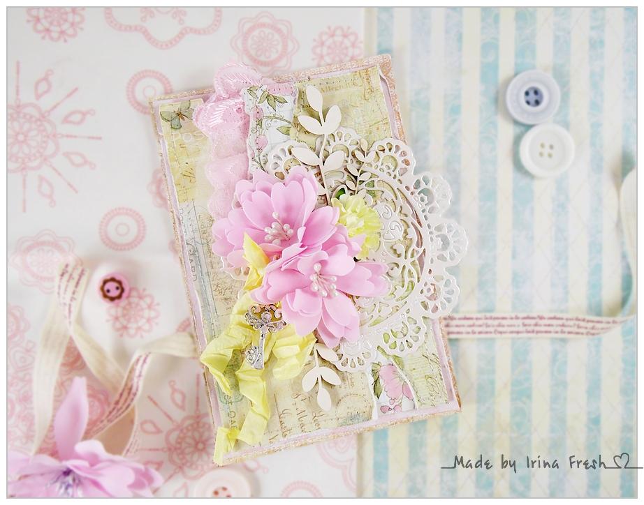 Открытка скрапбукинг с цветами из фоамирана