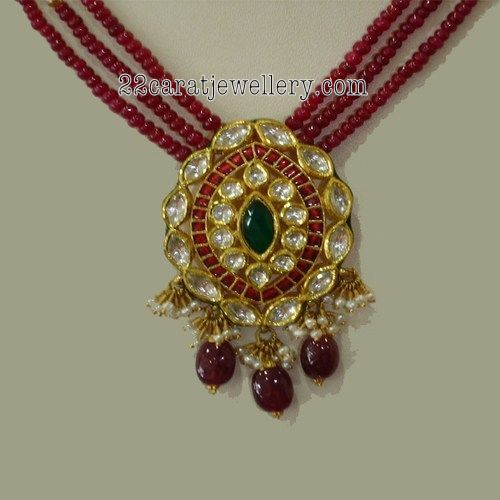 Multi Strings Ruby Emerald Beads Jewelry With Kundan Pendants 2 Jewellery Designs