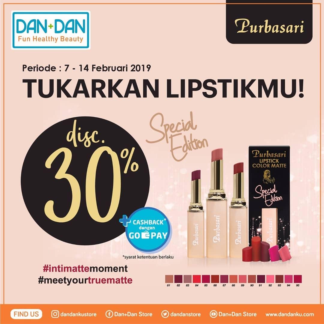 #DanDan - #Promo Tukar Cangkang & Diskon 30% Purbasari Lipstick Color Matte Special