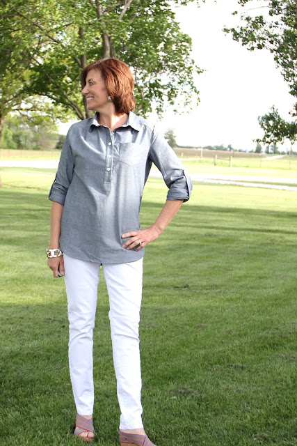 Itch to Stitch Mila Shirt from Indiesew made in Style Maker Fabrics chambray