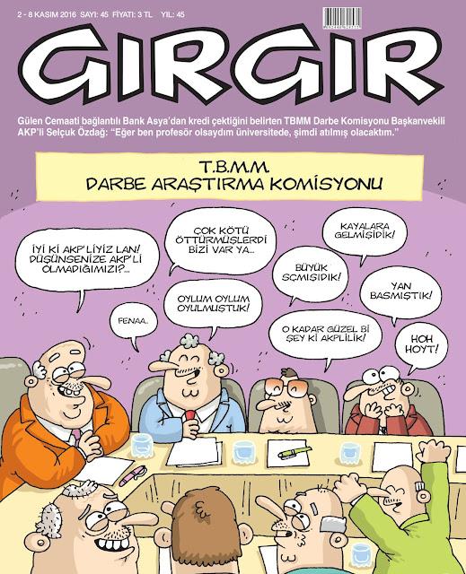 Gırgır Dergisi | 2-8 Kasım 2016 Kapak Karikatürü