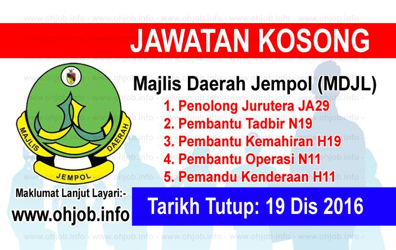 Jawatan Kerja Kosong Majlis Daerah Jempol (MDJL) logo www.ohjob.info disember 2016