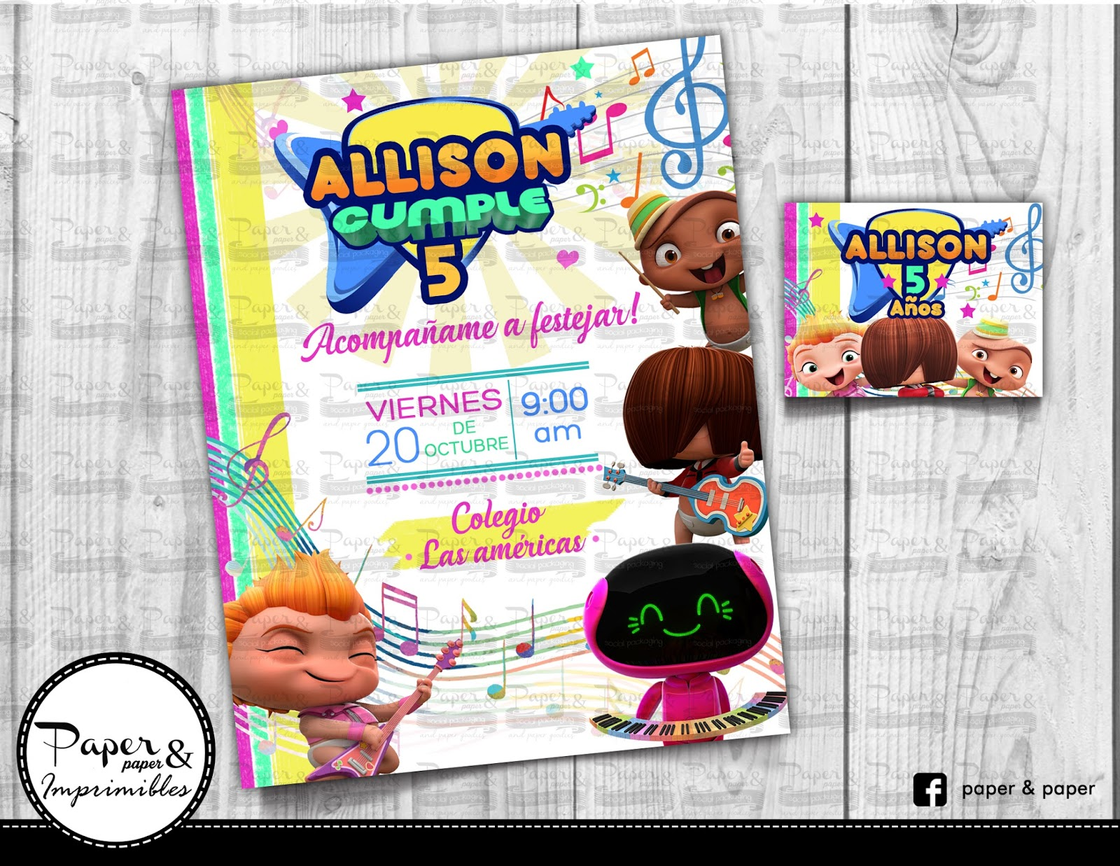 Paper And Paper Invitacion Para Imprimir Mini Beat Power
