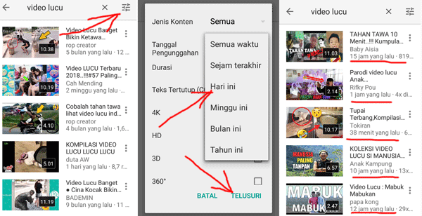 cara filter video terbaru di aplikasi youtube mobile penguna smartphone
