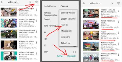 cara filter video terbaru di aplikasi youtube mobile penguna smartphone