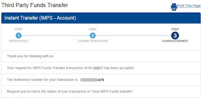 HDFC Bank IMPS Funds Transfer