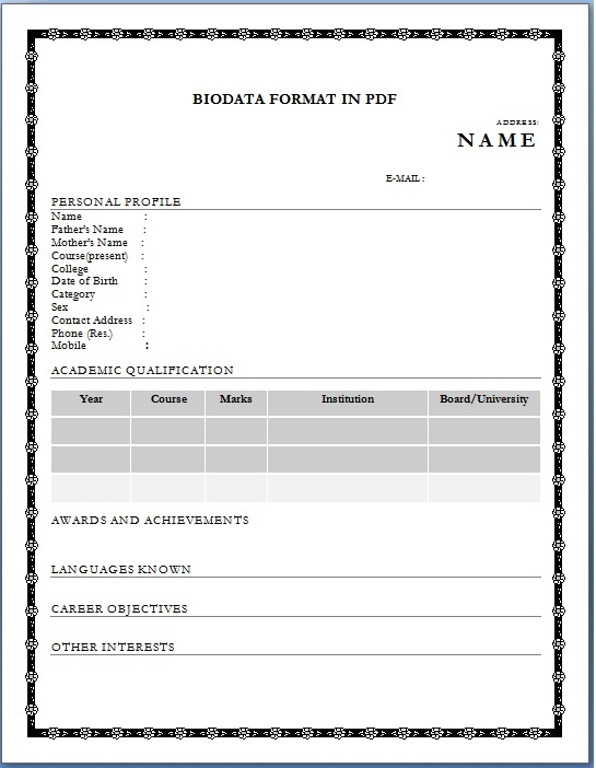 biodata sample for job application