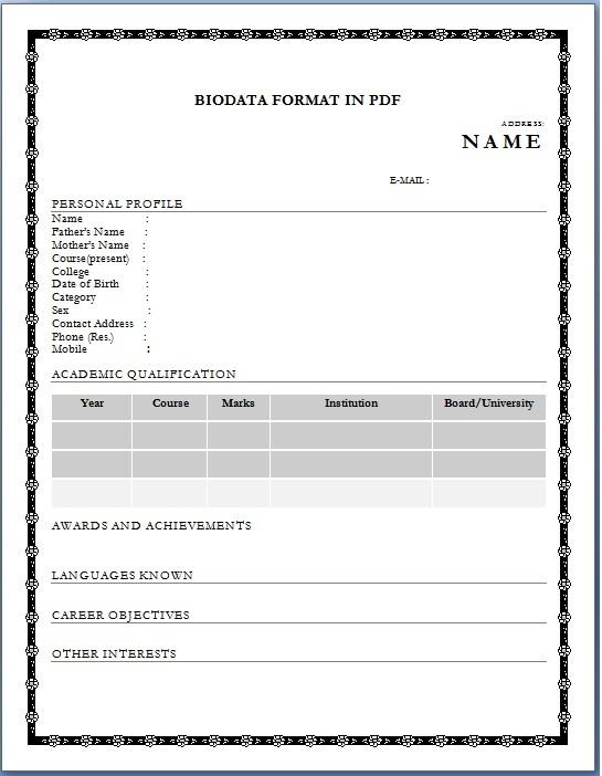 biodata format pdf - performa of biodata