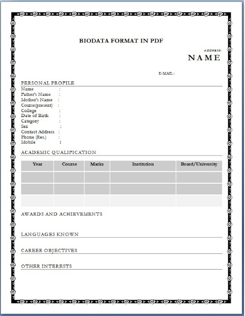 job bio data format