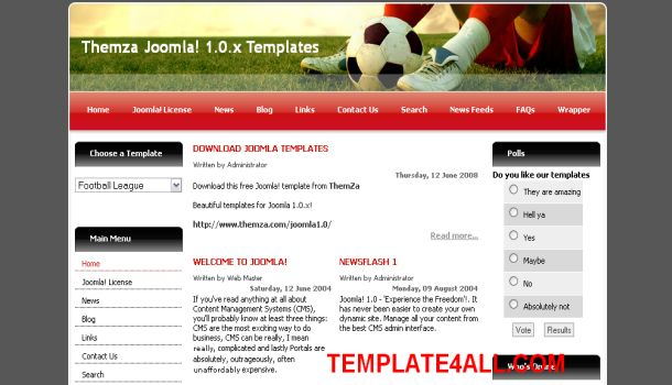 Free Joomla Soccer Dark Gray Red White Template