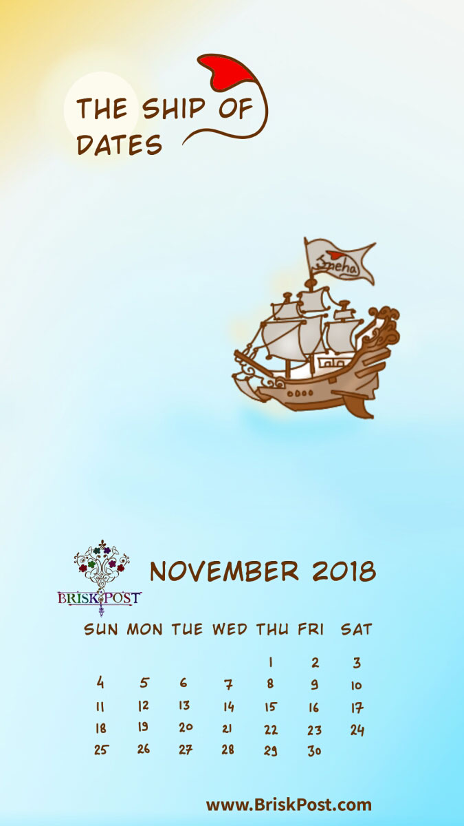 November 2018 calendar with vintage sea ship illustration and blue-white background;   calendar type: monthly view, mobile wallpaper;  cartoon calendar template: the ship of dates