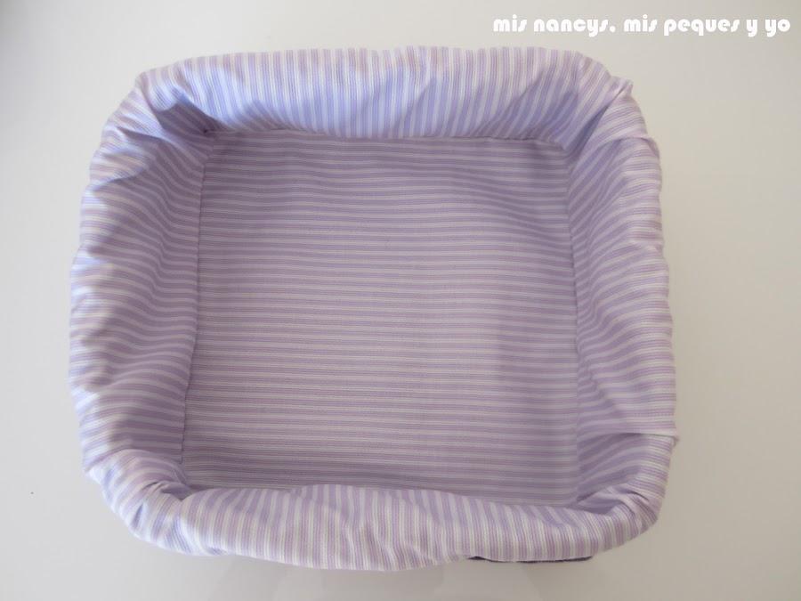 mis nancys, mis peques y yo, tutorial DIY funda cestas, funda terminada por dentro
