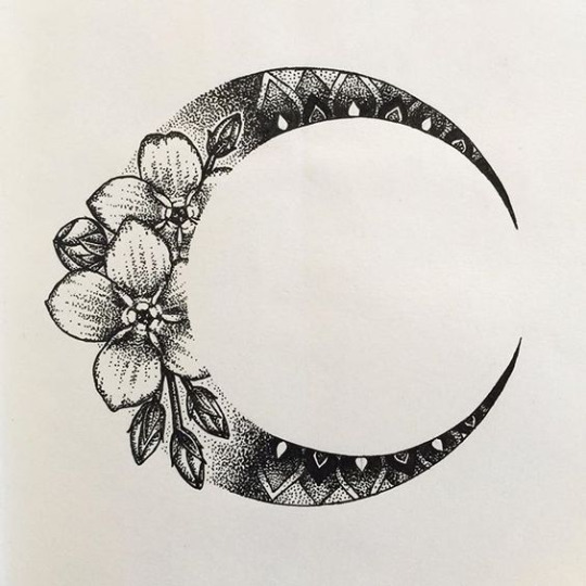 Floral Moon Tattoo Designs