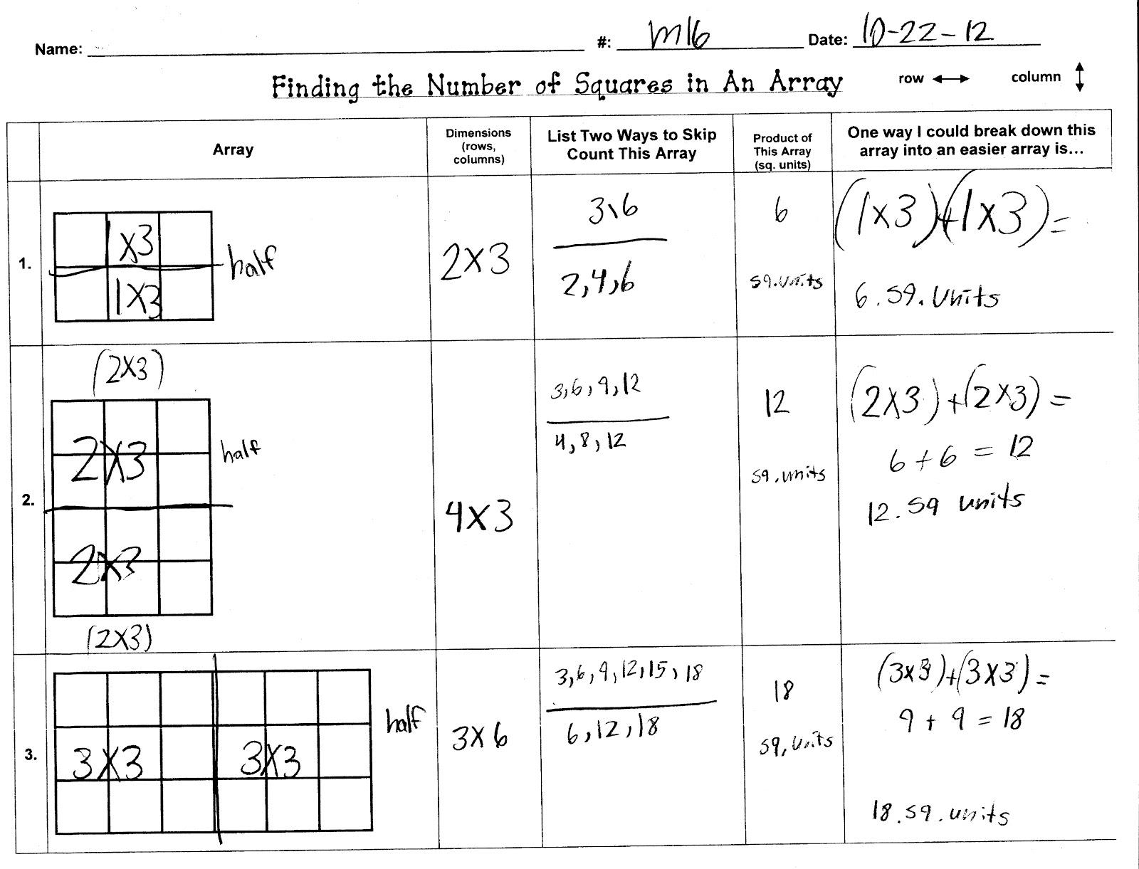 X2 Array Worksheet