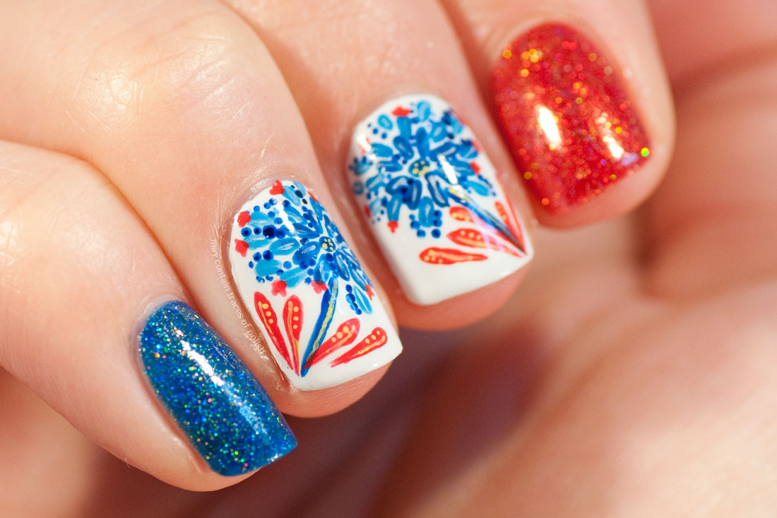 Bohemian Detailed Flower Nail Art