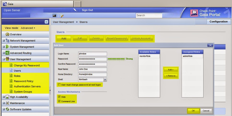 Check Point - GAiA - User Management - WebUI - NetworkSecurity+