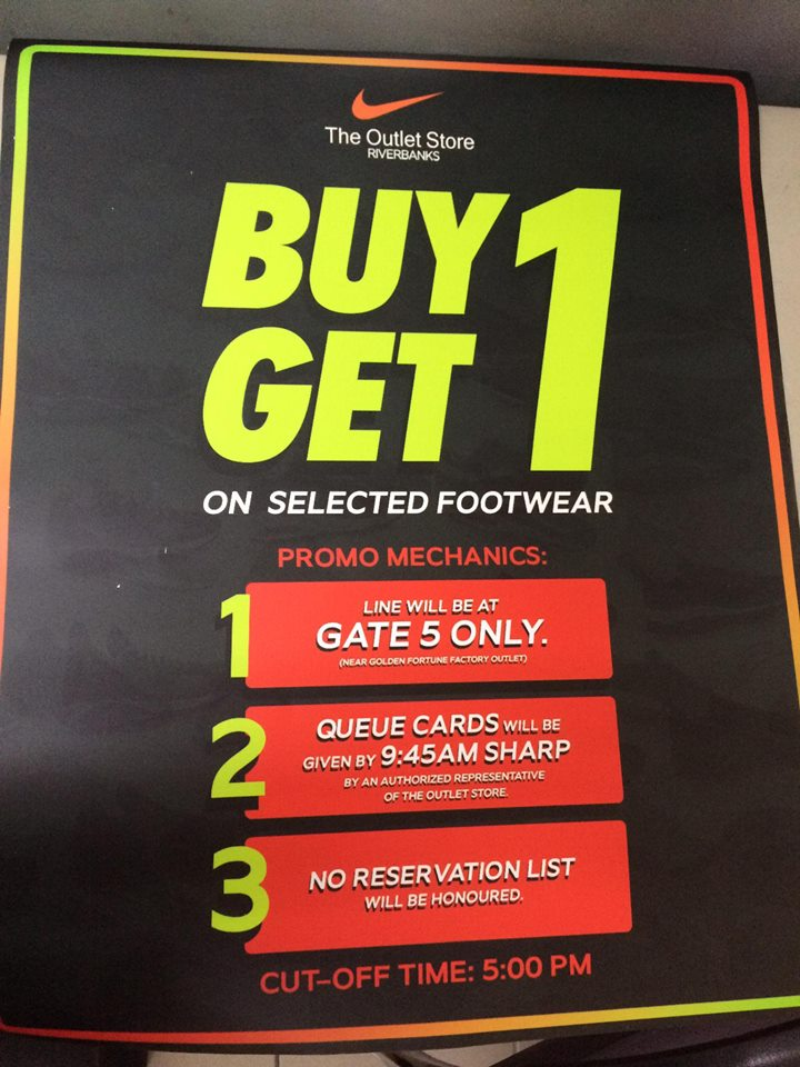 2ef7ee075 It's BUY 1 GET 1 on selected Nike footwear at The Outlet Store Riverbanks  Mall in Marikina on November 3-4, 2018 from 10am to 9pm!