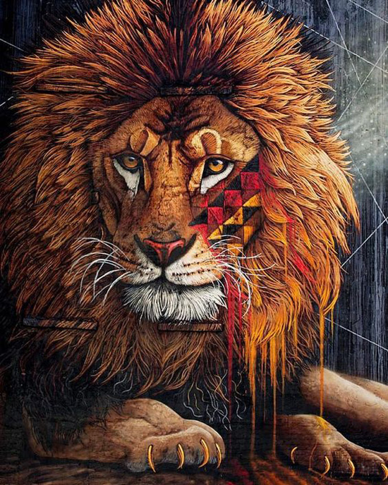 Safari Fusion blog >< African street art | Lion mural by Sonny in New York, USA