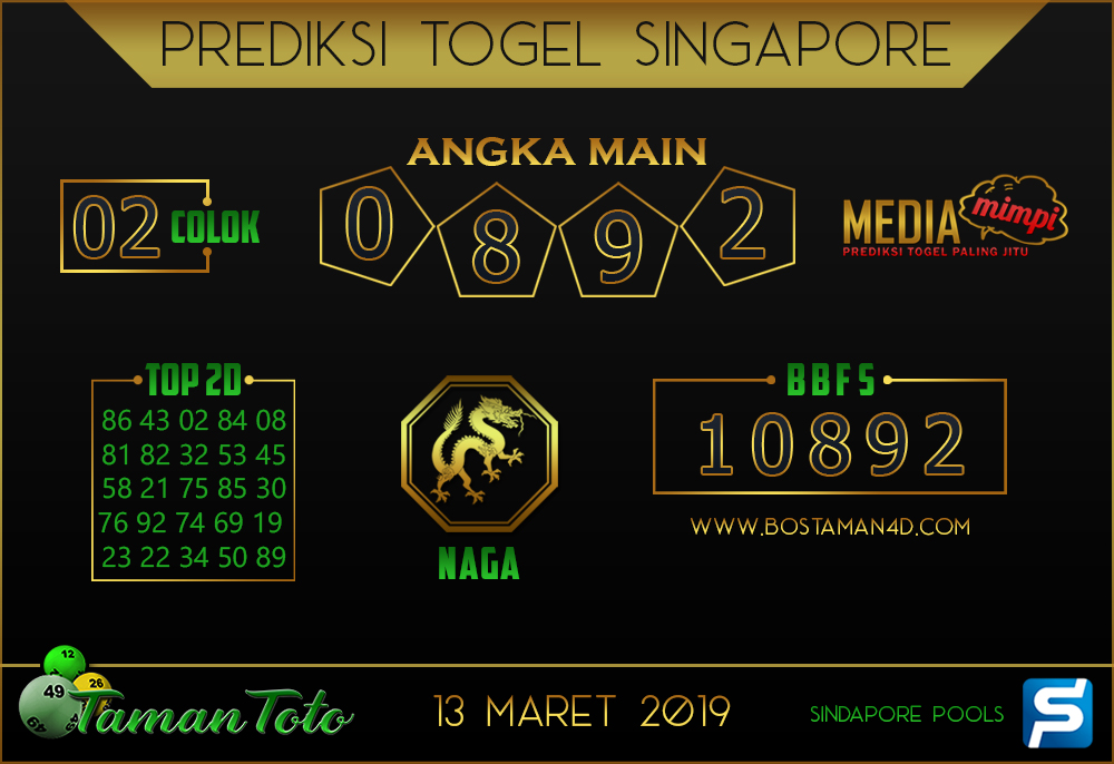 Prediksi Togel SINGAPORE TAMAN TOTO 13 MARET 2019