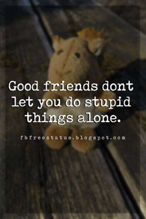 short funny friendship quotes, Good friends dont let you do stupid things alone.