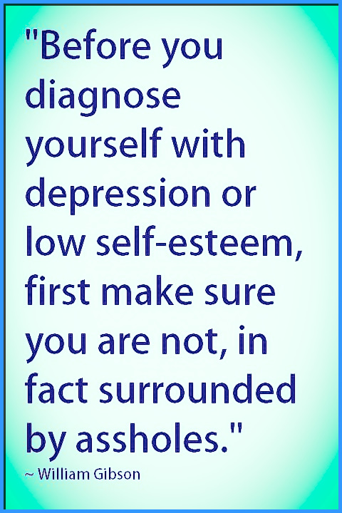 """""""Before you diagnose yourself with depression or low self-esteem, first make sure you are not, in fact surrounded by assholes."""" ~ William Gibson #quotes #inspirational #truth #wisdom #relatable"""