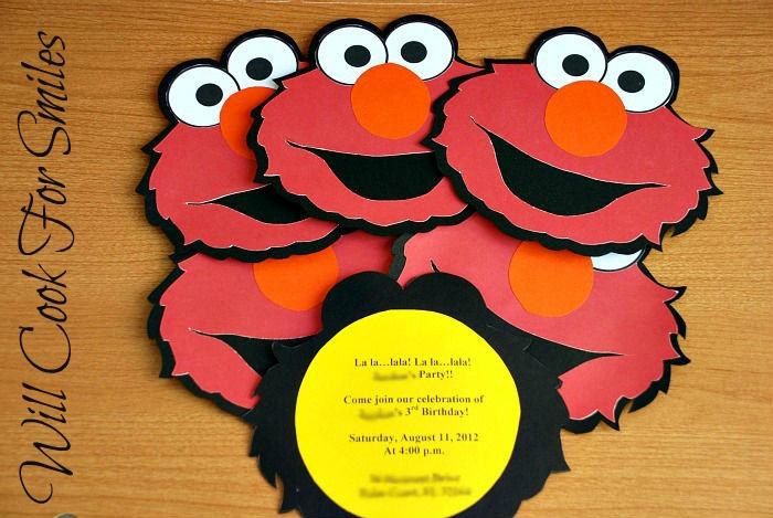 Elmo Birthday Invitations GluenGlitter