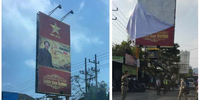 """Heboh Iklan Berbau Komunis, Gabungan TNI, Satpol PP, dan Polisi Copot Baliho """"RED ARMY"""""""