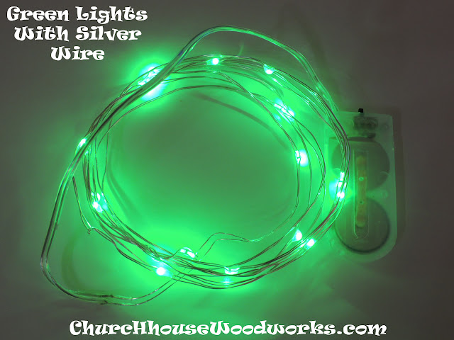 Green Lights With Silver Wire LED Battery Operated String Lights