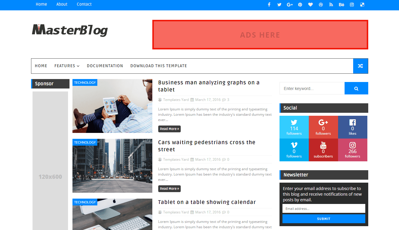 Master blog blogger template templatesyard free blogger for Free html blog templates