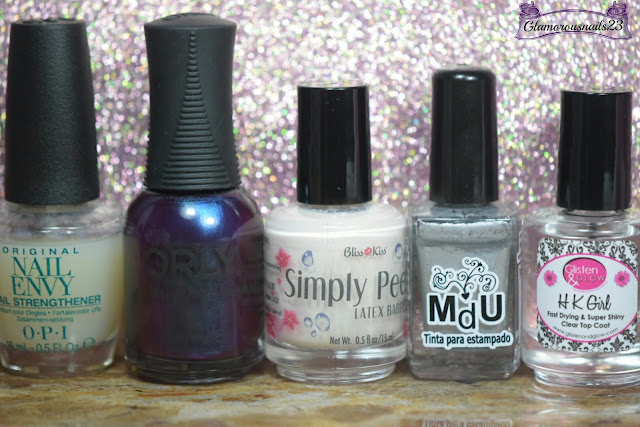 O.P.I Original Nail Envy, Orly Royal Velvet, Bliss Kiss Simply Peel Latex Barrier, Mundo De Unas White, Glisten & Glow HK Girl Fast Drying Top Coat