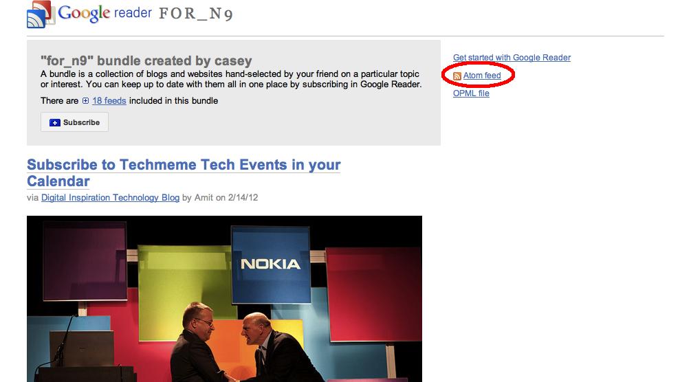 Google Reader for Nokia