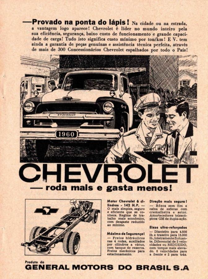 Propaganda antiga do Caminhão Chevrolet apresentado em 1961