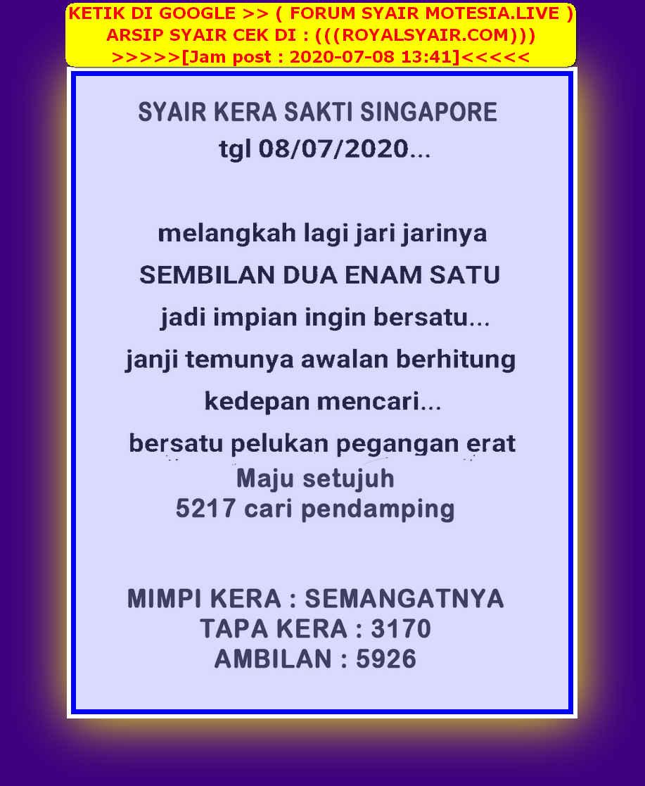 Kode syair Singapore Rabu 8 Juli 2020 25