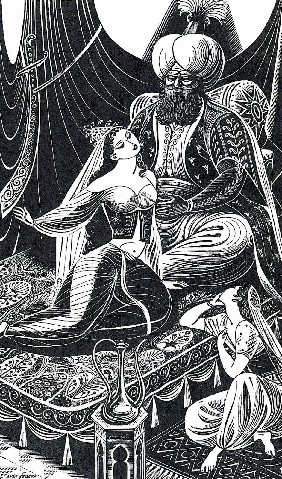 an Eric Fraser illustration of a sultan with harem